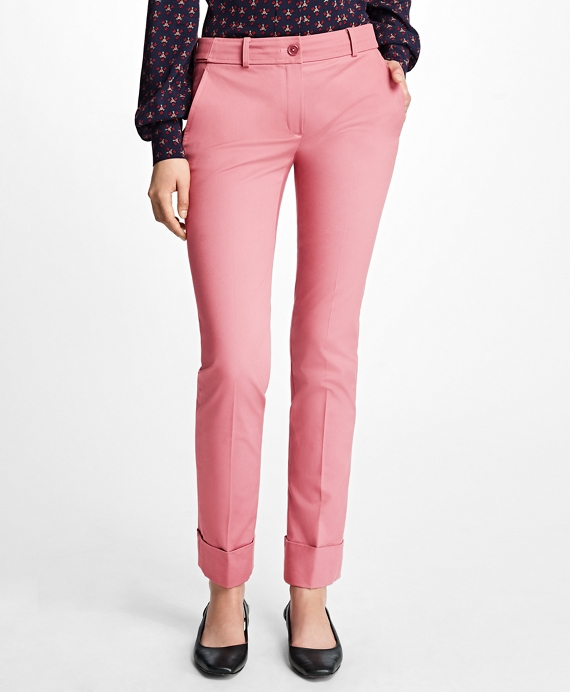 Cuffed Cotton Twill Trousers Rose