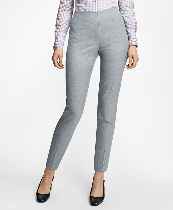 Slim-Fit Heathered Stretch Wool Twill Trousers Grey