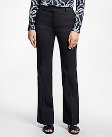 Wide-Leg Stretch Linen-Blend Pants