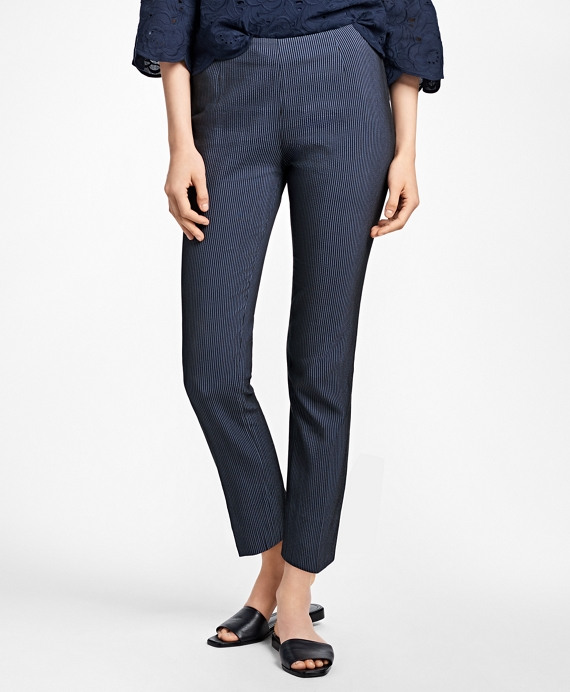 Cropped Corded Cotton-Blend Pants Navy