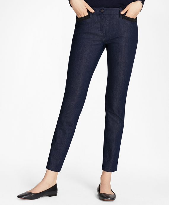 Soutache-Trimmed Denim Pants Navy