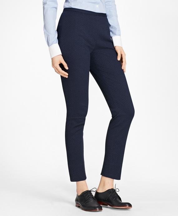 Stretch Cotton Jacquard Slim-Fit Pants Navy