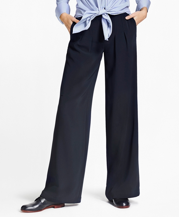 Matte Satin Wide-Leg Pants Navy