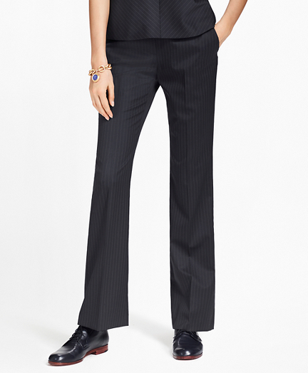 Pinstripe Stretch-Wool Pants