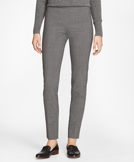 Slim-Fit Micro-Houndstooth Stretch-Wool Pants