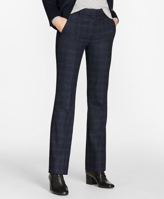 Plaid Stretch-Wool Pants Navy