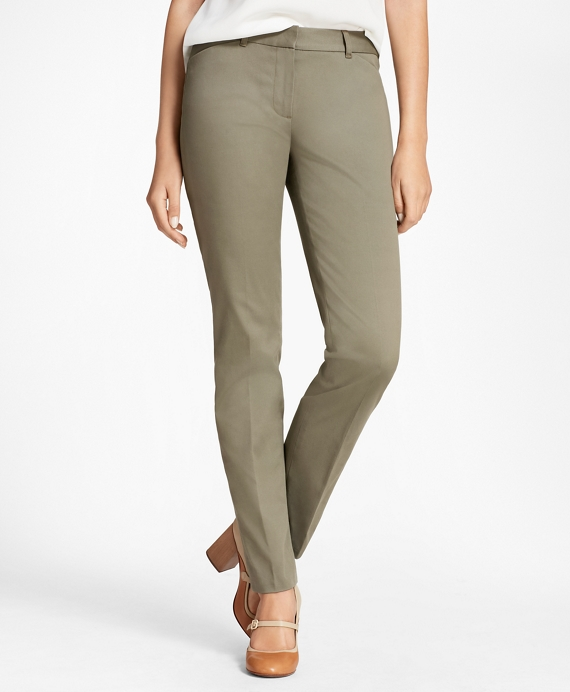 Stretch Cotton Twill Pants Olive
