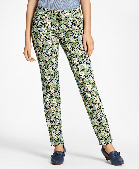 Slim-Fit Floral-Print Jeans Navy-Multi