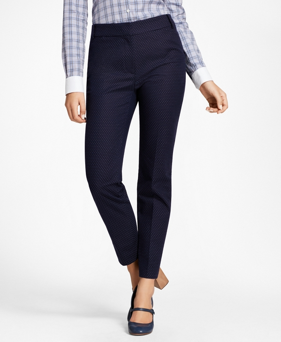 Slim-Fit Diamond Jacquard Ankle Pants Navy