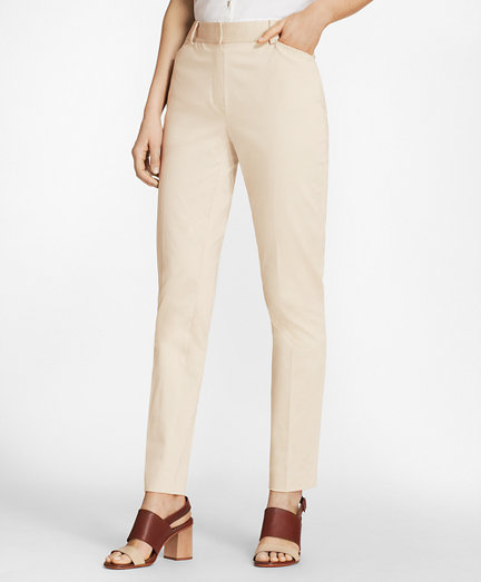 Stretch Cotton Sateen Ankle Pants