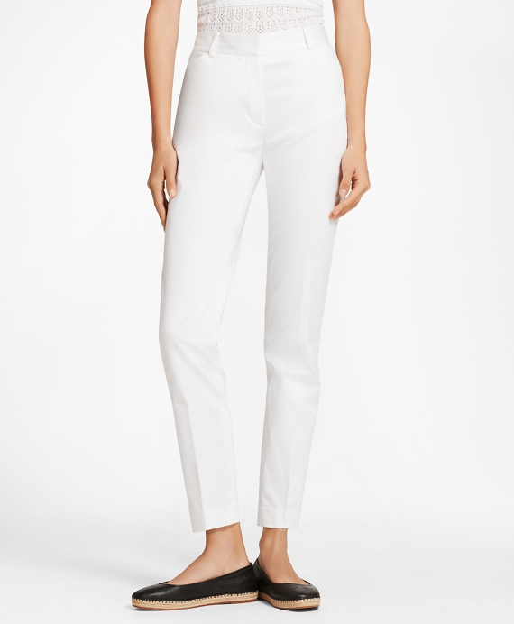 Stretch Cotton Sateen Ankle Pants White