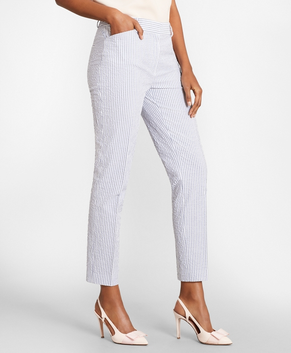 Striped Stretch Cotton Seersucker Pants Blue-White