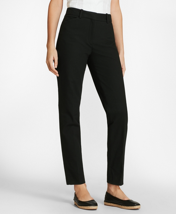 Stretch Cotton Pique Ankle Pants Black