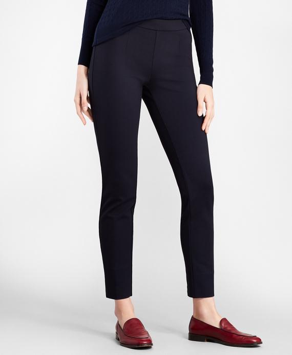 Ponte Knit Ankle Pants Navy
