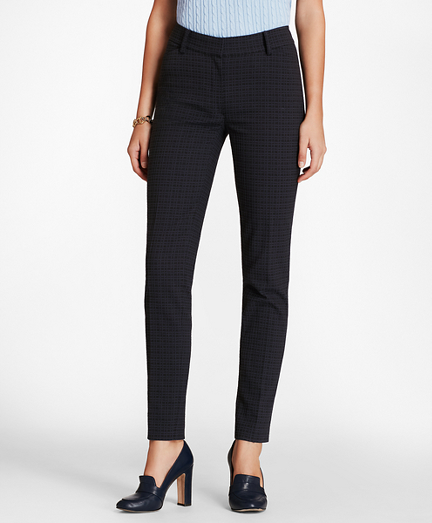 Plaid Stretch-Cotton Jacquard Ankle Pants