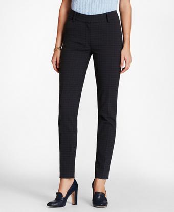 Plaid Stretch-Cotton Jacquard Ankle Pants