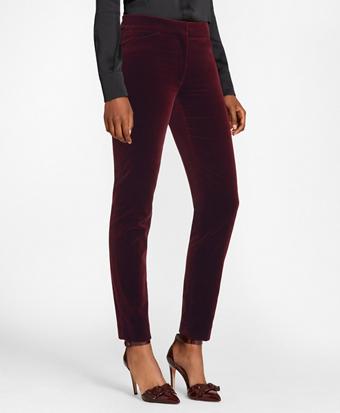 Slim-Fit Stretch Cotton Velvet Ankle Pants