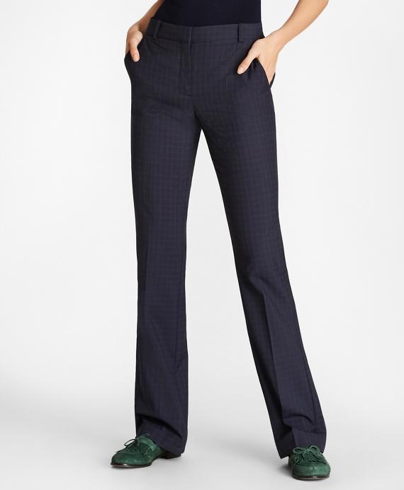 Checked Wool Pants Navy