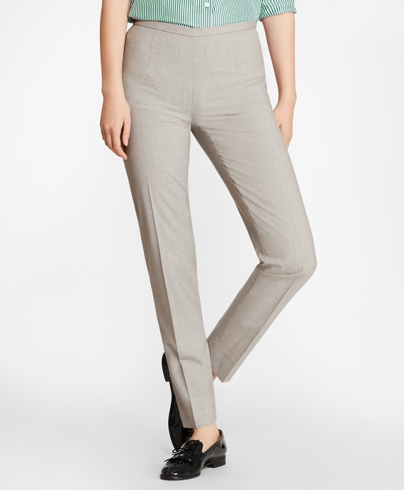 Stretch-Wool Ankle Pants Light Grey