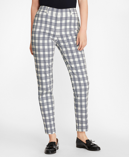 Plaid Stretch Cotton Ankle Pants