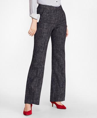 Plaid Tweed Wide-Leg Pants