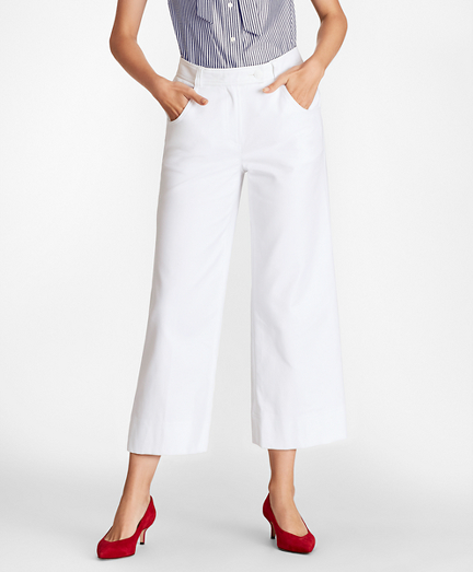 Stretch Cotton Wide-Leg Cropped Pants