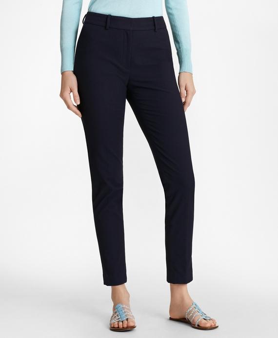 Stretch-Cotton Jacquard Ankle Pants Navy