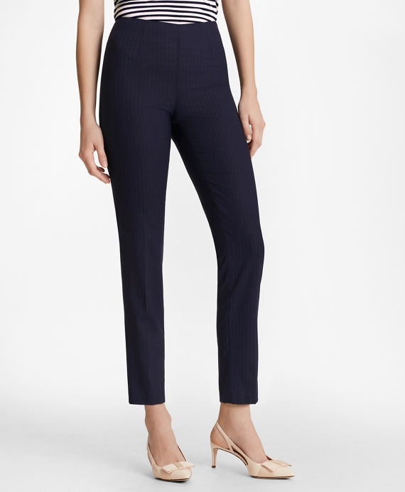 Pinstripe BrooksCool® Merino Wool Ankle Pants Navy