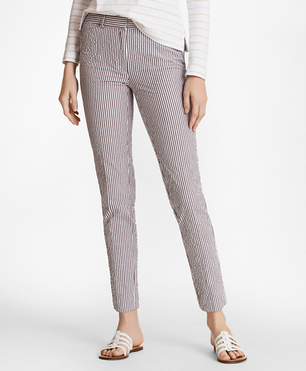 Stretch-Cotton Seersucker Ankle Pants