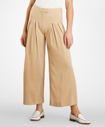 Pleat-Front Wide-Leg Pants