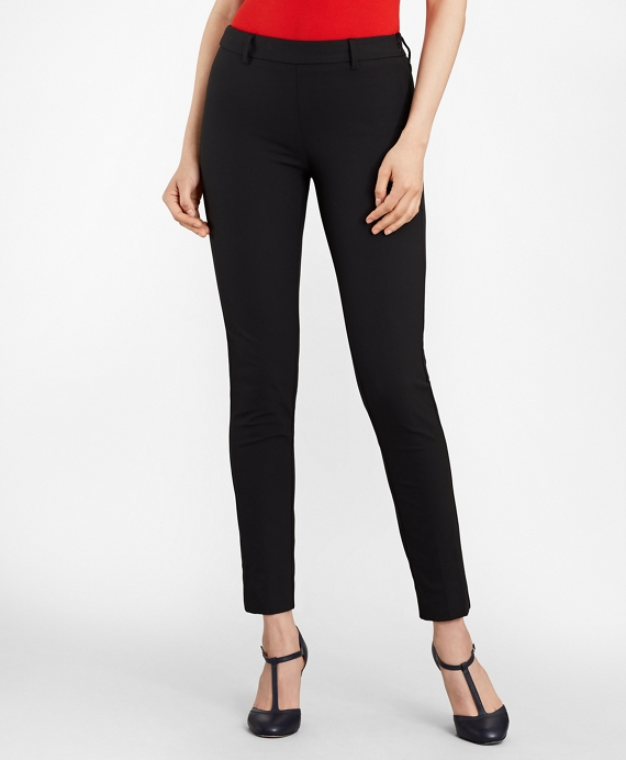 Slim-Fit Stretch-Cotton Twill Ankle Pants Black
