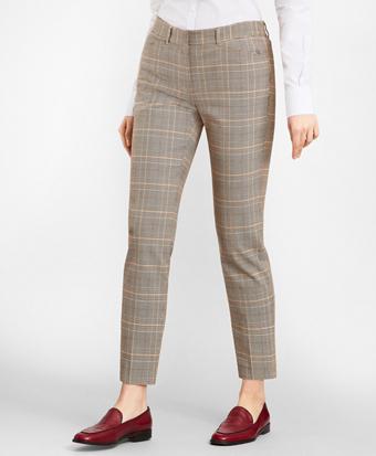 Slim-Fit Glen Plaid Twill Pants