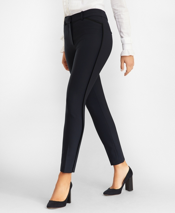 Stretch-Wool Crepe Tuxedo Pants Navy