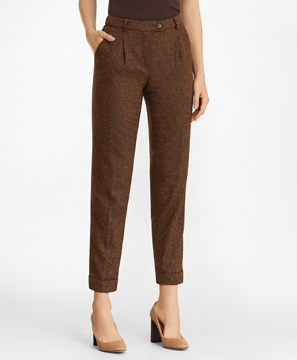 Stretch Wool-Silk Tweed Pleated Pants