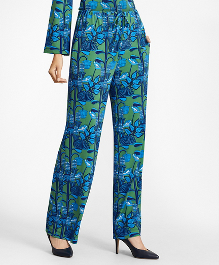 Floral-Print Jersey Wide-Leg Pants