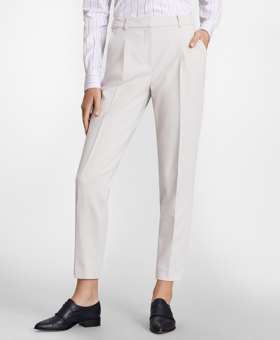 Double-Weave Pleated Ankle Pants Light Grey