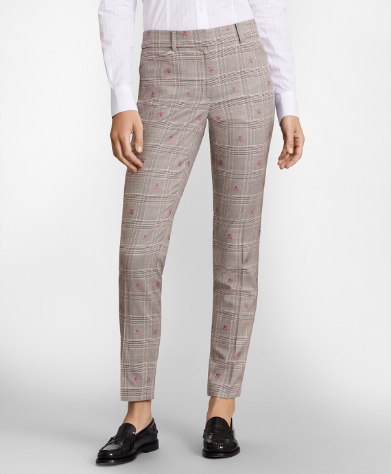 Floral Plaid Jacquard Ankle Pants Grey