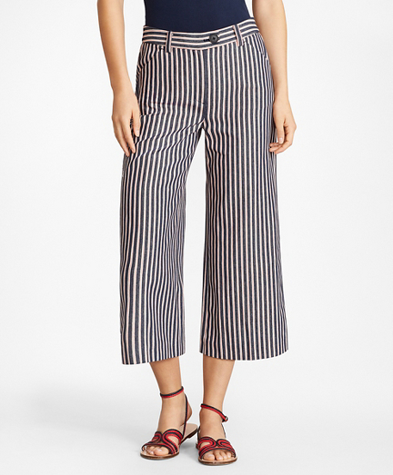 Striped Cotton Dobby Culottes