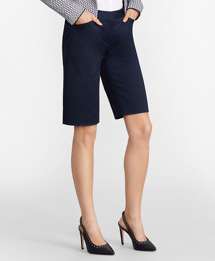 Stretch Cotton Twill Bermuda Shorts