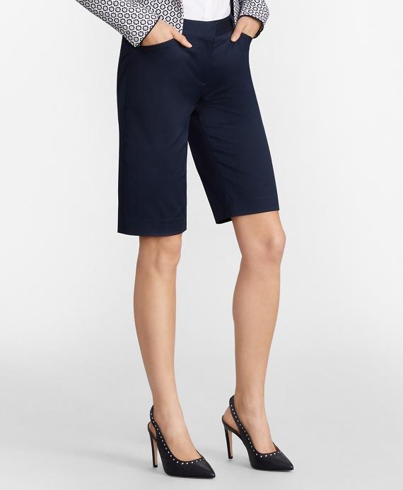Stretch Cotton Twill Bermuda Shorts Navy