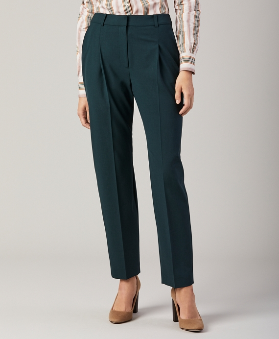 Stretch Wool Pants Dark Green
