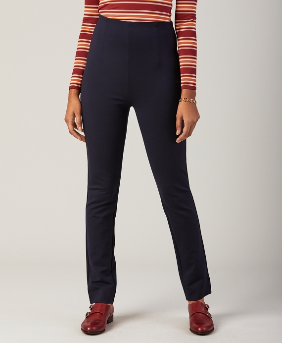High-Waist Ponte Knit Ankle Pants Navy