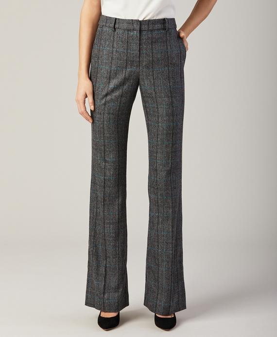 Glen Plaid Wool-Cashmere Pants Grey