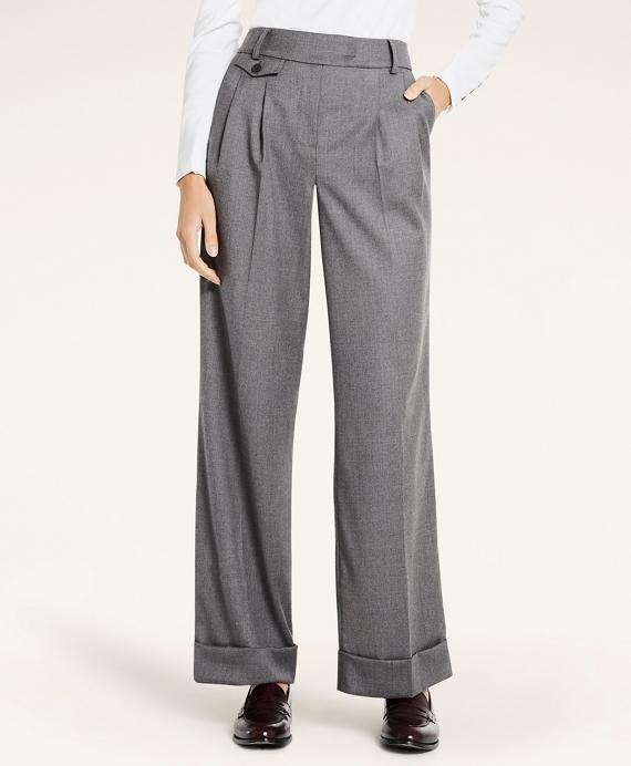 Stretch Wool Flannel Wide-Leg Pants Grey