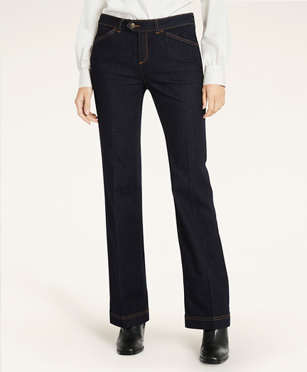 Stretch Cotton Flared Jeans