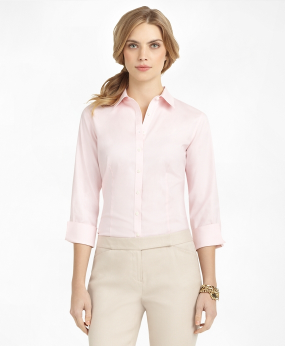 Non-Iron Fitted Three-Quarter-Sleeve Dress Shirt Pink
