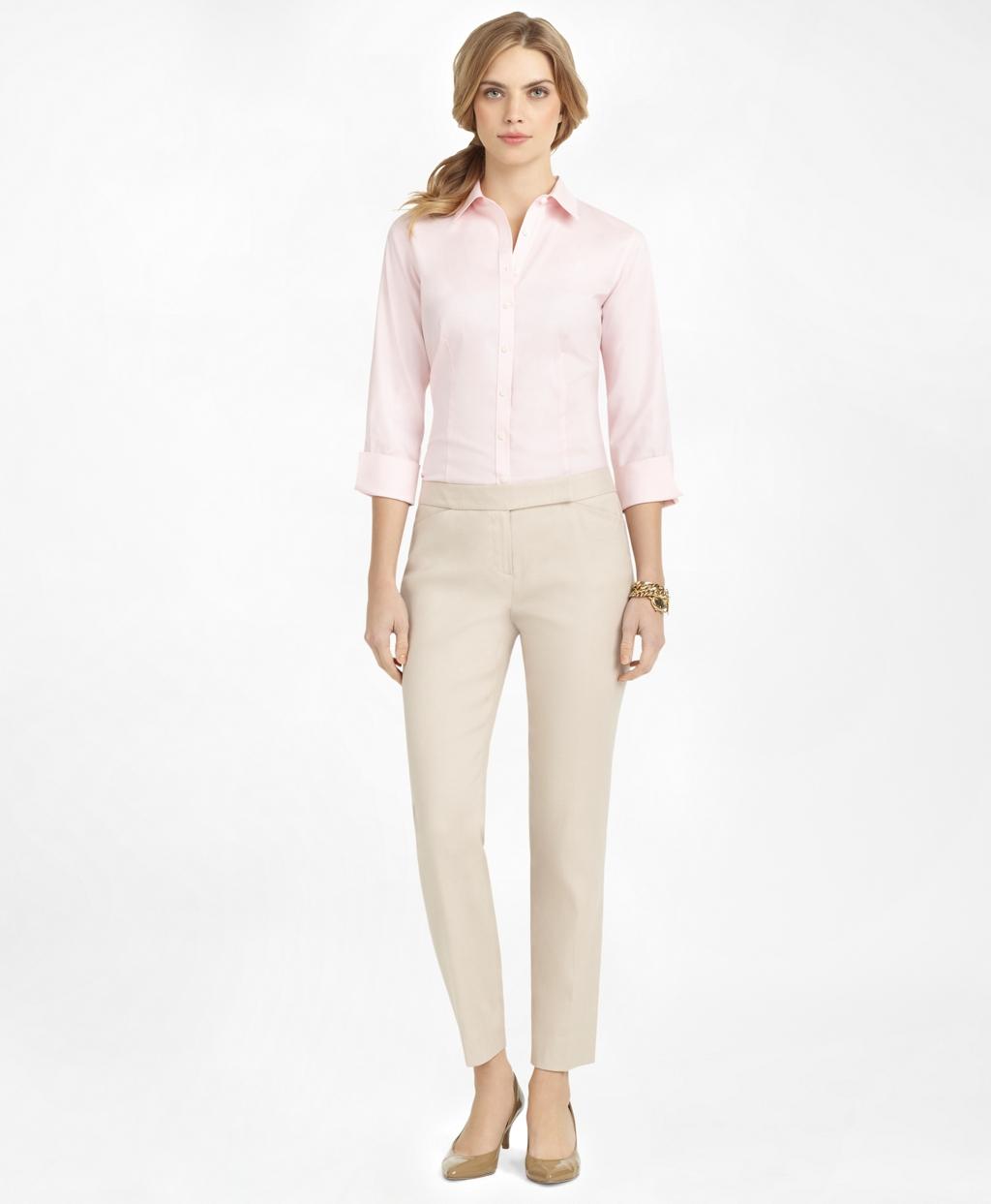 Womens Non Iron Fitted Three Quarter Sleeve Dress Shirt Brooks