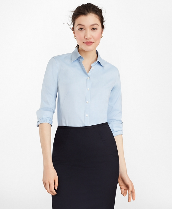 Non-Iron Fitted Dress Shirt Blue