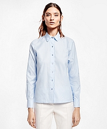 Scallop-Edge Cotton Dobby Shirt