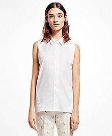 Sleeveless Cotton-Blend Shirt
